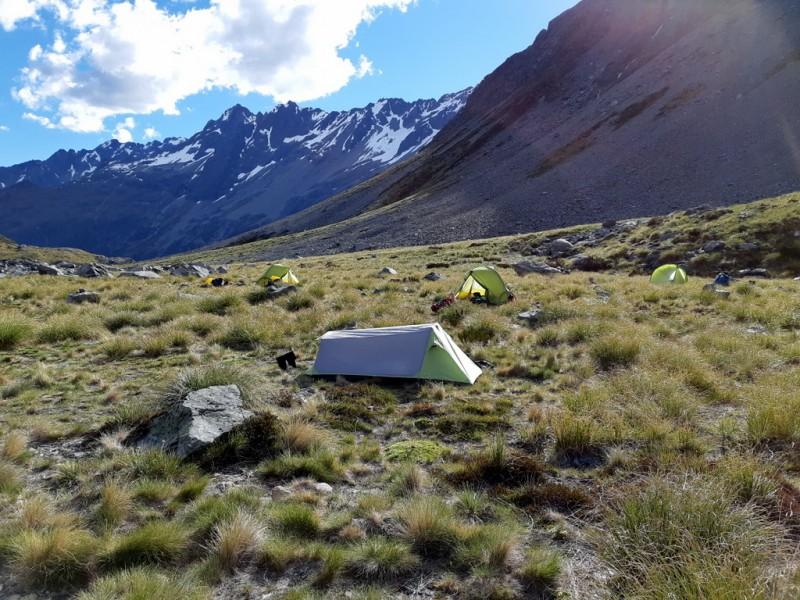 Tent city at Biv Rock